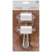 American Crafts Shop Brayer DIY Stamp, Hearts/Chevron