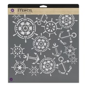 "Prima Marketing™ 12"" x 12"" Designer Stencil, Anchor & Helm"