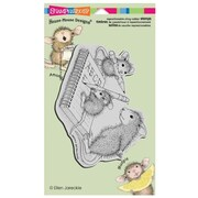 """Stampendous® 4"""" x 6"""" House Mouse Cling Rubber Stamp, Practice ABC's"""