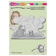 """Stampendous® 5 1/2"""" x 4 1/2"""" House Mouse Cling Rubber Stamp, Blowing Bubbles"""