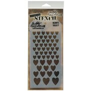 "Stampers Anonymous Tim Holtz® 4 1/8"" x 8 1/2"" Layered Stencil, Hearts"