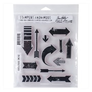 Stampers Anonymous Tim Holtz® 7 x 8 1/2 Cling Rubber Stamp Set, Here & There
