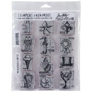 "Stampers Anonymous Tim Holtz® 7"" x 8 1/2"" Cling Rubber Stamp Set, Mini Blueprints #6"