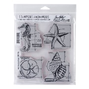 "Stampers Anonymous Tim Holtz® 7"" x 8 1/2"" Cling Rubber Stamp Set, Nautical Blueprint"