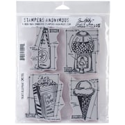 "Stampers Anonymous Tim Holtz® 7"" x 8 1/2"" Cling Rubber Stamp Set, Treats Blueprint"