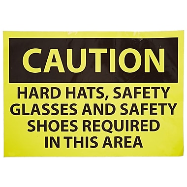 Caution, Hard Hats Safety Glasses And Safety Shoes Required In This Area, 14