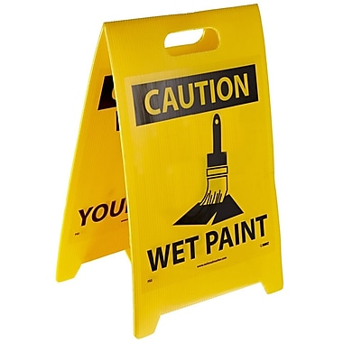 Floor Sign, Dbl Side, Caution Watch Your Step Caution Wet Paint, 20