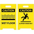 Floor Sign, Dbl Side, Caution Wet Floor Caution Slippery When Wet, 20X12