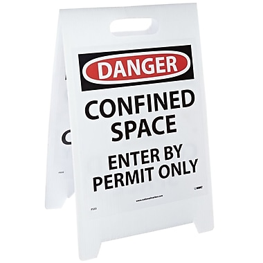 Floor Sign, Dbl Side, Danger Confined Space Danger Confined Space Enter By Permit Only, 20