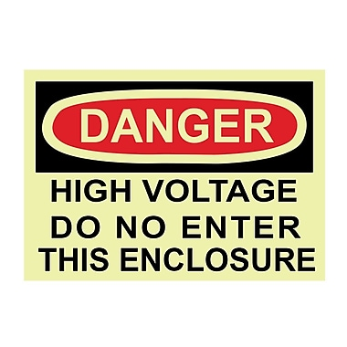 Glow Labels Danger, High Voltage Do Not Enter This Enclosure, 3