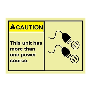 Glow Labels Glow Labels Caution, This Unit Has More Than One Power Source, 5/Pack