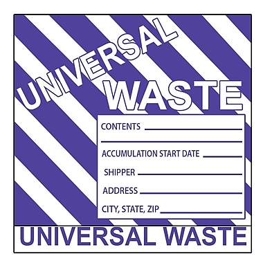 Hazard Labels, Hazardous Materials Shipping, Universal Waste Stripes, 6