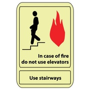 In Case Of Fire Do Not Use Elevator.., 10X7, Adhesive Glow
