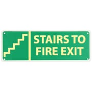 Stairs To Fire Exit (W/ Graphic), 5X14, Adhesive Glow