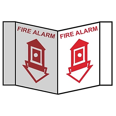 Visi Sign, Fire Alarm, Red, 8