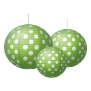 Teacher Created Resources Round Paper Lantern, Lime Polka Dots