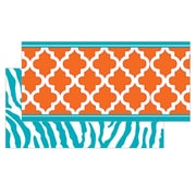 "Teacher Created Resources TCR77097 36"" x 3"" Straight Animal Prints, Moroccan, Safari Double Sided Borders, Orange/Teal"