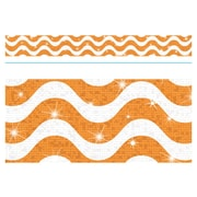 Trend Enterprises® Toddler - 12th Grade Sparkle Plus Bolder Border, Orange Wavy