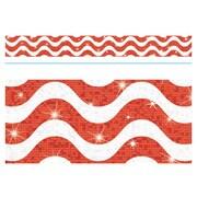Trend Enterprises® Toddler - 12th Grade Sparkle Plus Bolder Border, Red Wavy