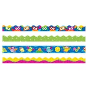 TREND T-90822 146.25' Straight/Scalloped Lime Sparkle Owl-Stars Terrific Trimmer, Bolder Borders, Multicolor