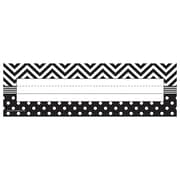 Teacher Created Resources All Grade Name Plate, Black & White Chevrons and Dots