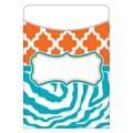 Teacher Created Resources Orange and Teal Wild Moroccan Library Pocket, 35/Pack