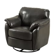 Monarch Look Swivel Accent Chair PU, Wood, Foam Accent Chair Charcoal Grey