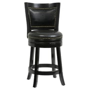 "Boraam Bristol 24"" Bonded Leather Swivel Stool, Black"