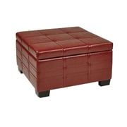 Office Star Ave Six® Eco Leather Detour Strap Ottoman With Tray, Plum
