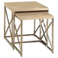 Monarch Nesting Table Set Chrome Metal 2 Piece  Reclaimed Look