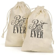 "HBH™ 4"" x 6"" ""Best Day Ever"" Cotton Favor Bag, White/Black"