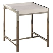 Monarch Accent Table 18 H x 18 W x 19.75 D Wood, Glass White