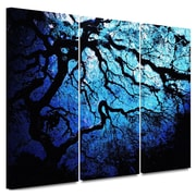 "ArtWall ""Ice Blue Eve: Japanese Tree"" 3 Piece Gallery Wrapped Canvas Art By John Black, 36"" x 54"""
