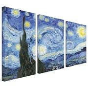 "ArtWall 3 Piece ""Starry Night"" Gallery Wrapped Canvas Art By Vincent Van Gogh, 24"" x 36"""