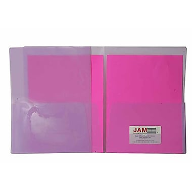 JAM Paper® 9in. x 12in. Plastic Regular Weight See Through Two Pocket Folder, Purple, 6/Pack