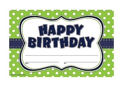 Teacher Created Resources Lime Polka Dots Happy Birthday Award