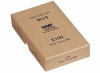 MMF Industries Chipboard Coin Storage Boxes Buff 100 Halves 1 1 2 H x 4 1 8 W x 6 3 4 D