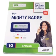"The Mighty Badge 901812 Name Tag Refill Kit For Inkjet Printer, 1 1/2"" x 3"", Silver"
