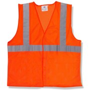 Mutual Industries MiViz ANSI Class 2 Solid Safety Vest With Silver Reflective, Orange, XL