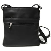 Royce Leather Women's Vaquetta Triple Zip Crossbody Bag Black