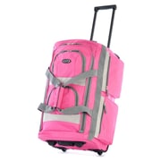 "Olympia Supreme Polyester Pocket Rolling Duffel Bag, 26"", Hot Pink"
