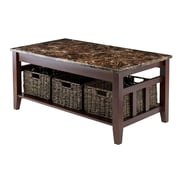 Winsome 76337 Wooden/Faux Marble Coffee Table with 3 Baskets
