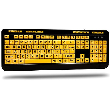 Adesso – Clavier à 122 touches jaune fluorescent, touches agrandies 4x avec contraste de couleurs