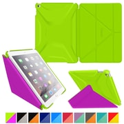rOOCASE Polyurethane 3D Slim Shell Folio Smart Case Cover for iPad Air 2, Electric Green/Peach Pink