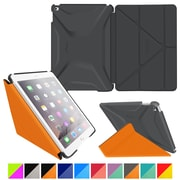 rOOCASE Polyurethane 3D Slim Shell Folio Smart Case Cover for iPad Air 2, Space Gray/Orange