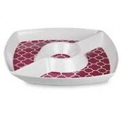 Home Basics Melamine Lattice Chip & Dip Tray; Red