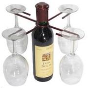 Metrotex Designs Wine Bottle 4 Stem Holder; Red