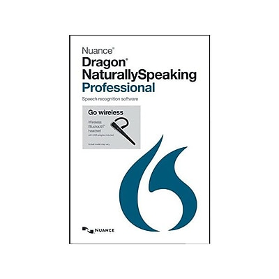 Nuance Dragon NaturallySpeaking v.13.0 Professional Software W BLTH HDST 1 User Windows DVD ROM