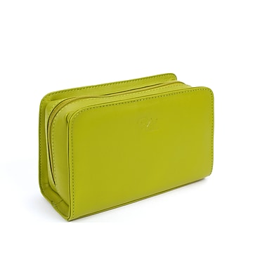 RKW Collection Genuine Leather Cosmetic Bag, Meadow Green