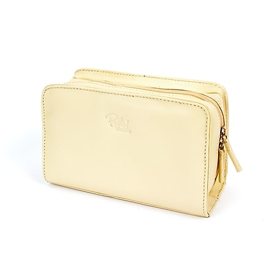 RKW Collection Genuine Leather Cosmetic Bag, Ivory